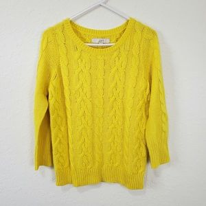 Loft   Bright Yellow Cable Knit Sweater Size M